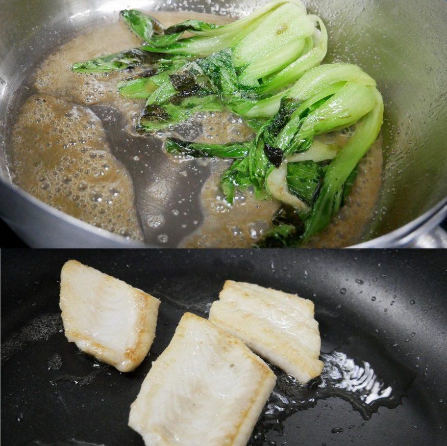 Pak Choi und Seefilets zubereiten